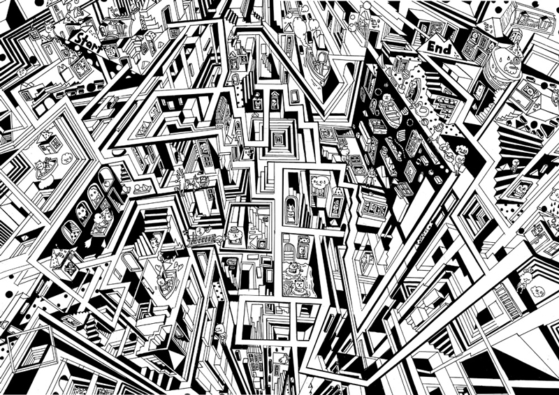 3d Maze Drawing Maze Game Drawing For Mag